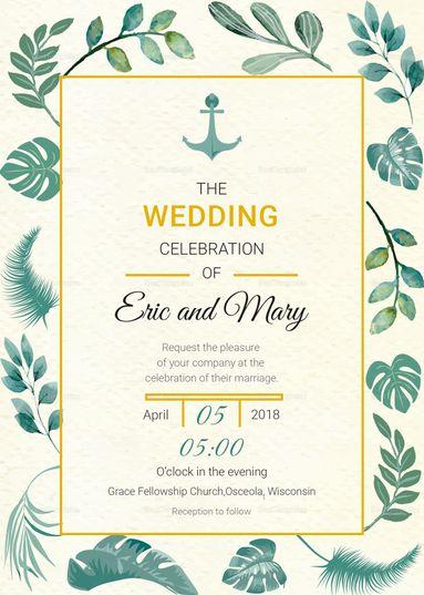 Nautical Wedding Invitation Card Template 15 Formats
