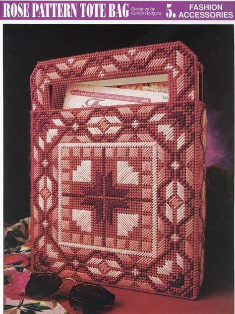 Rose Pattern Tote Bag Plastic Canvas Pattern. $3.50, via Etsy.