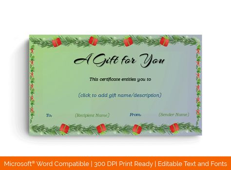 Download Christmas Fir Border Gift Certificate Template (REG, #8854T) MS WORD in Microsoft Word (DOC). Christmas Fir Border Gift Certificate Template (REG, #8854T) MS WORD is designed by expert designers and is completely customizable. Download, Edit  Print.
