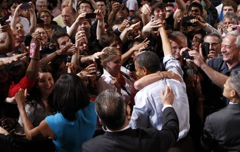 Group hug. President Obama on the 2012 campaign trail - The Washington Post