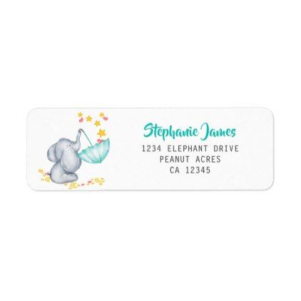 Cute Elephant And Stars Baby Shower
