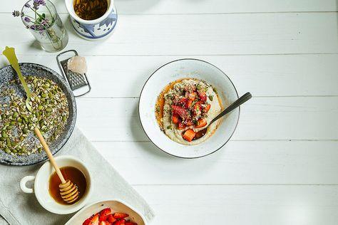 vanilla bean millet porridge w/ lavender strawberries + super seeds