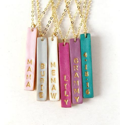 Stamped Reversible Bar Necklace, Christmas Gift, Name stamped Colorful Vertical Bar on Gold chain, Dainty Women's Jewelry, 2 in 1 Necklace – DIY jewelry Diy Clay Earrings, Polymer Clay Necklace, Womens Jewelry Rings, Women Jewelry, Jewelry Bracelets, Gold Jewelry, Jewellery, Stamped Jewelry, Handmade Jewelry