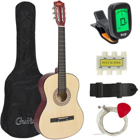 Best Choice Products 38in Beginner Acoustic Guitar Starter Kit W Case Strap Digital Tuner Pick Strings Natural Walmart Com Acoustic Guitar Case Acoustic Electric Guitar Guitar Case