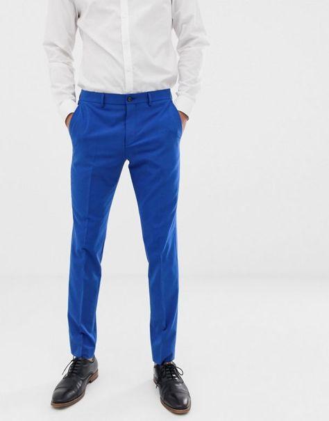 a73bd1ac4f89 Jack   Jones Premium - Pantaloni da abito slim elasticizzati blu elettrico  - Blu -