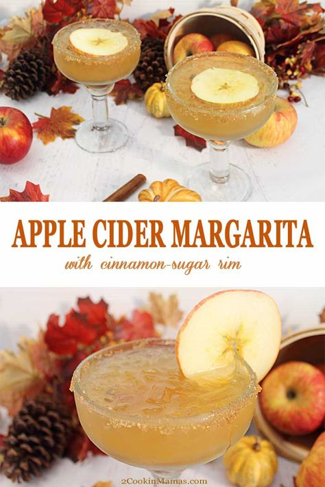 Apple Cider Margarita - - An easy cocktail to whip up for the season. A little apple cider, tequila and a cinnamon sugar rim makes this a fun fall take on the classic golden margarita. Fall Cocktails, Holiday Drinks, Summer Drinks, Popular Cocktails, Vodka Cocktails, Alcoholic Drinks, Beverages, Fall Recipes, Holiday Recipes