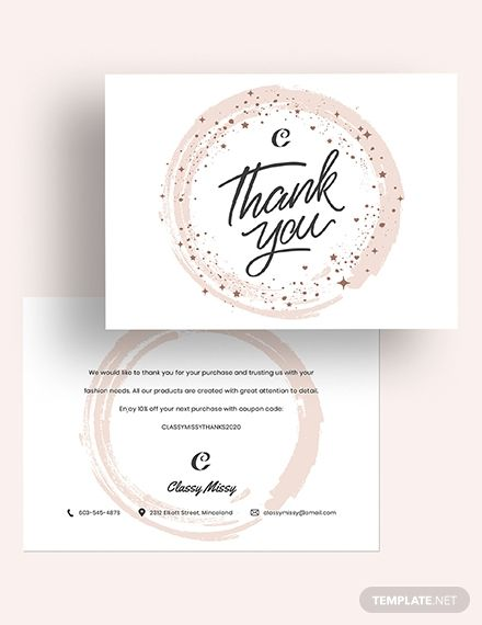 Fashion Thank You Card Template Word Doc Psd Apple Mac Pages Illustrator Publisher Thank You Card Template Cards Thank You Cards