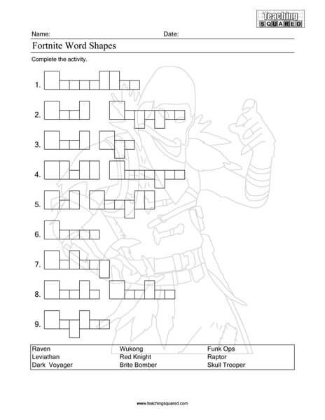 Free printable Fortnite activity | Teaching Squared