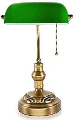 Traditional Bankers Lamp Brass Base Handmade Emerald Green Glass Shade Vintage Office Table Light Antique Style Desk L Bankers Lamp Lamp Antique Style Desk