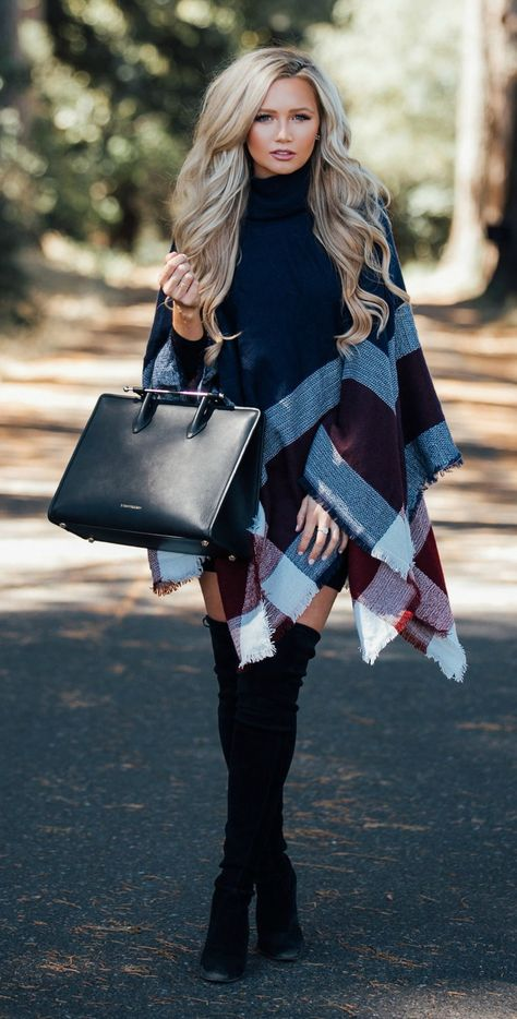 Love the knee highs, poncho and curls look