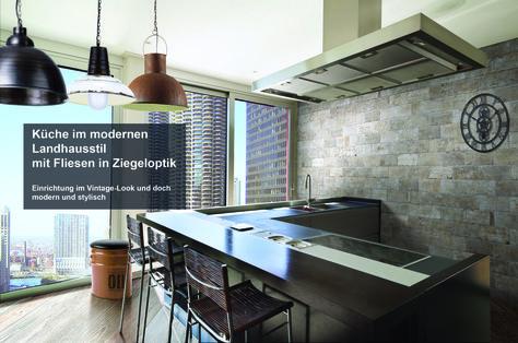 Vintage Look Shabby Style Fliese Ziegeloptik Wandfliese Küche Küchenspiegel  Einrichtungsideen Kücheninsel Loft Wohnideen