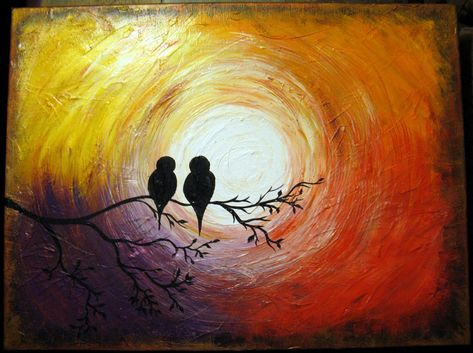 "Love Birds on a Tree Limb in the Sunrise/Sunset: Acrylic Abstract Painting, Red, Yellow, Purple, Orange, Gold 18"" by 24"". $125.00, via Etsy."