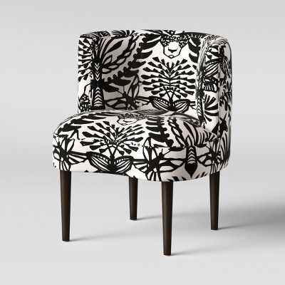 Clary Curved Back Accent Chair Black White Animal Icon Opalhouse