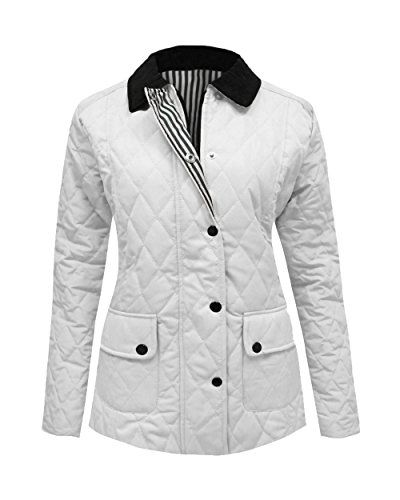 New Ladies Women Long Sleeve Quilted Padded Button Zip Coat Top Jacket Plus Size