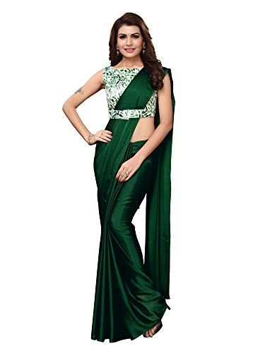 AKHILAM Women's Solid Vichitra Silk Georgette Saree with Unstitched belt Saree Blouse Patterns - Gia Designer