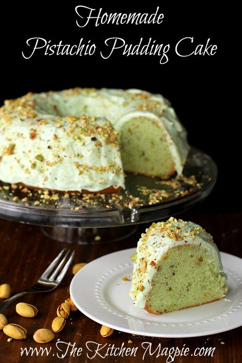 Homemade Pistachio Pudding Cake with Pistachio Buttercream Icing. | From The Kitchen Magpie #cake #recipes #frosting