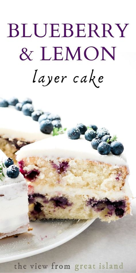 Blueberry Lemon Layer Cake is the perfect spring and summer cake for birthdays and special occasions easy recipe cake dessert blueberries lemon layercake birthday yellowcake Mini Desserts, Spring Desserts, Summer Dessert Recipes, Easy Desserts, Easter Recipes, Desserts For Birthdays, Recipes Dinner, Summer Desserts For Parties, Easy Birthday Desserts