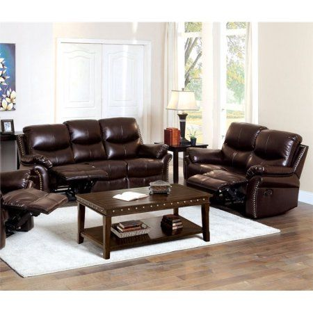 Furniture Of America Hambrick 2 Piece Leather Reclining Sofa Set Recliningsofa Sofa And Loveseat Set Cheap Living Room Sets Sofa Set
