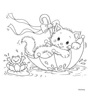 Printable Kitty Cat And Frog In Umbrella Lovely Weather Didi Coloring Page Cute Coloring Pages Cat Coloring Page Animal Coloring Pages