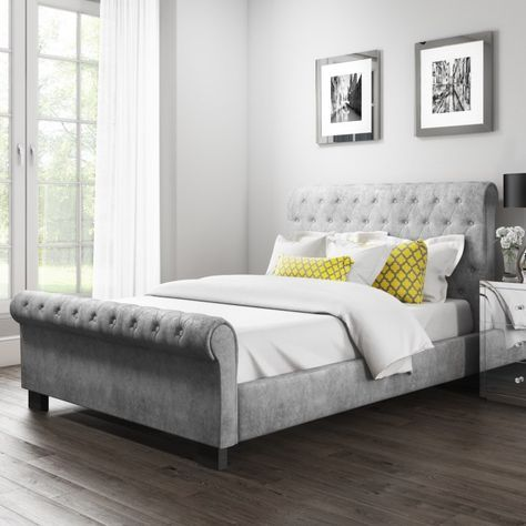 Safina Roll Top Kingsize Sleigh Bed In Grey Velvet Velvet Bed