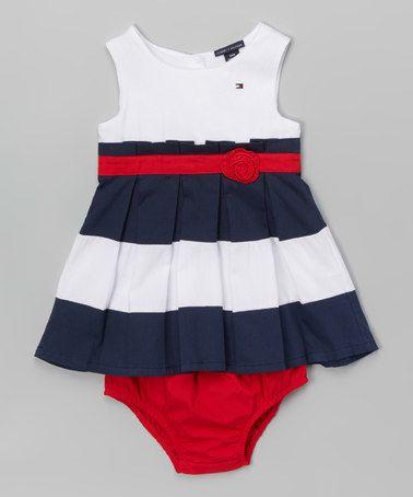 Tommy Hilfiger Big Stripe Baby Dress L//S Robe B/éb/é Fille
