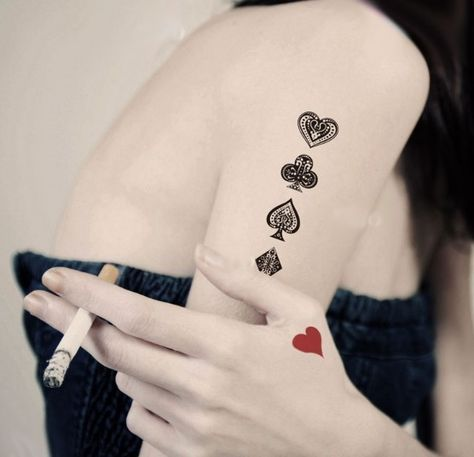 4 Pcs Poker Card Patterns Tattoo Stickers - Tattoos #poker #tattoo www.loveitsomuch.com