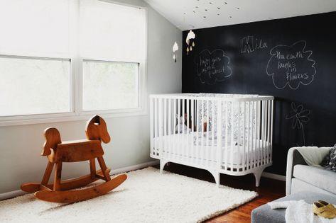 Black and White Nursery by Christina Loucks Ahumada #blackandwhitenursery #chalkwall