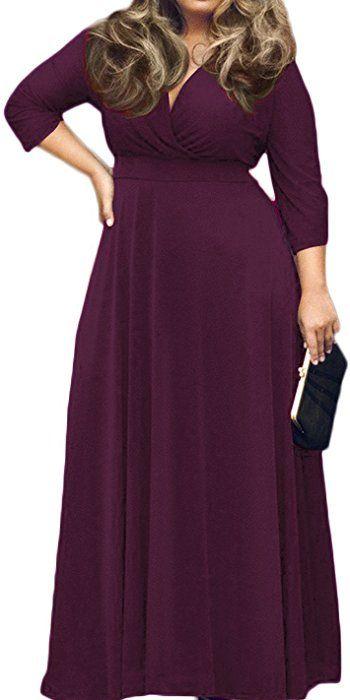0141901c232 POSESHE Women's Solid V-Neck 3/4 Sleeve Plus Size Evening Party Maxi ...