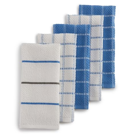 The Big One Yarn Dyed Kitchen Towel 5 Pk Blue Towel Kitchen