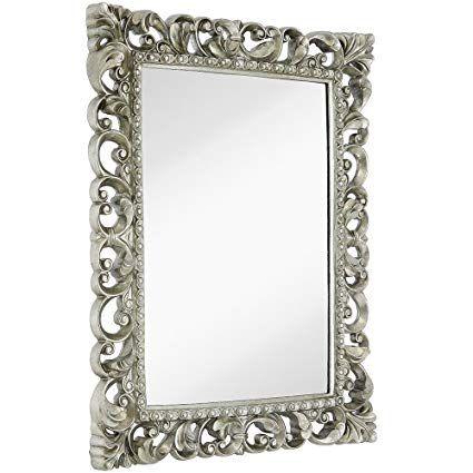 Hamilton Hills Antique Silver Ornate Baroque Frame Mirror Elegant Old World Feel Beveled Plate Glass Mirrored Design Hangs Horizontal Or Vertical 28 5 Quot