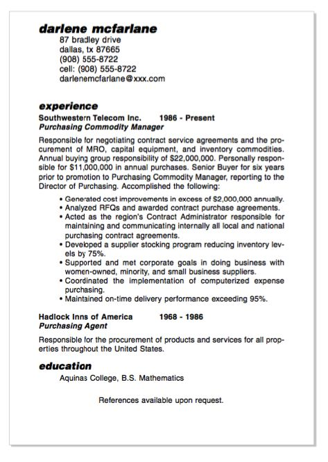 Example Of Purchasing Commodity Manager Resume -