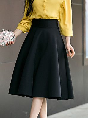 Mujer Diario Noche Chic De Calle Tallas Grandes Algodon Hasta El Gemelo Faldas Un Color Color Puro Alta Cintura 2020 Us 4 99 Faldas Mujer Faldas Faldas Elegantes