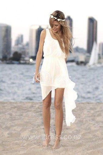 Sleeveless Scoop Neck Ivory Summer Wedding Dress Casual Beach