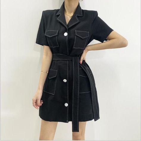 US $19.94 49% OFF New 2020 Women Summer Dresses High Waist Costume Korean Style Lace Up Vintage Elegant Office Lady Mini Dress CL397 Jackets    - AliExpress
