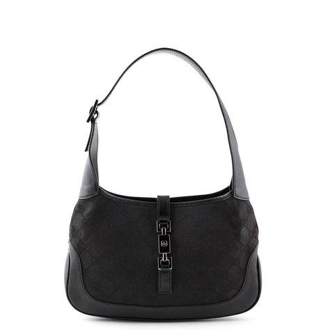fb758cdf95d1 Gucci Black Monogram Canvas Small Jackie Hobo bag - LOVE that BAG - Preowned  Authentic Designer Handbags