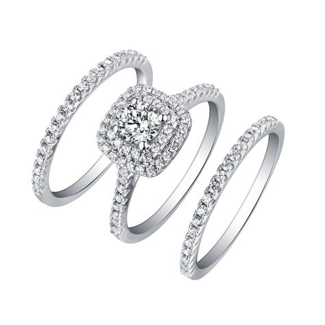 Tinnivi Sterling Silver Round Cut Created White Sapphire Halo 3PC Wedding  Ring Set