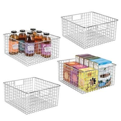 Mdesign Metal Wire Food Storage Organizer Bin 12 X 12 X 6 4 Pack Chrome Nel 2020