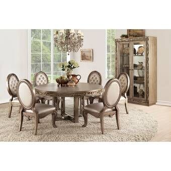 Donatella 9 Piece Extendable Dining Set Gold Dining Room Formal