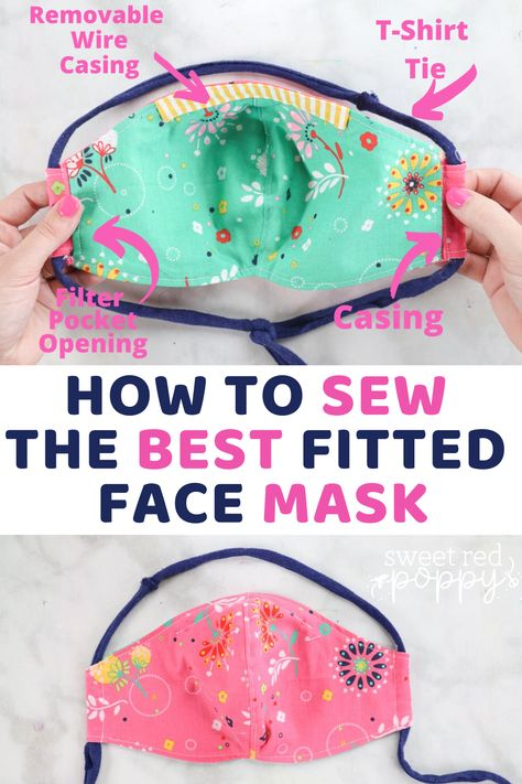 How to Sew a Fitted Face Mask with Casing - Sweet Red Poppy - Learn to Sew a Fitted Face Mask with Filter Pocket, Removable Nose Wire, T-Shirt Tie and Casing. Sewing Blogs, Sewing Hacks, Sewing Tutorials, Sewing Projects, Sewing Tips, Sewing Basics, Paracord, Sewing Patterns Free, Free Sewing
