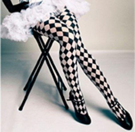 c6991fa15eea3 Full Length Black and White Harlequin Pantyhose Alice Steampunk Circus |  eBay