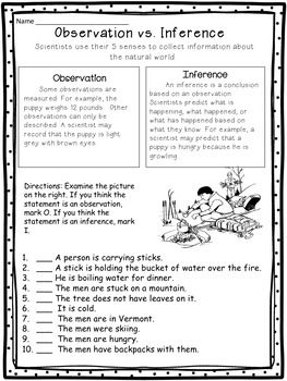 Observations Vs Inferences Worksheet Science Process Skills