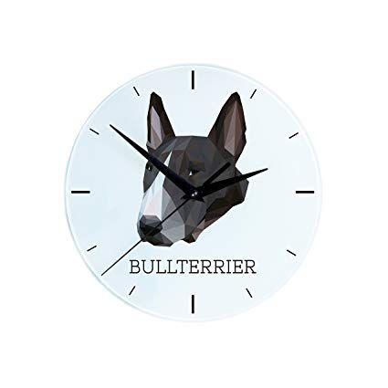 Bullterrier Wanduhr Mit Einem Bild Eines Hundes Geometrisch Hunde Hundespielzeug Kaufen Hundebilder Hunde Witzig Welpen Spielzeug Hund Wanduhr Bullterrier