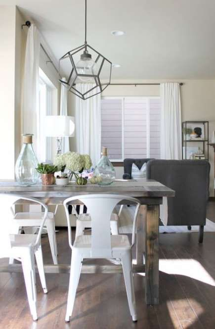 Kitchen Table Grey Stain Light Fixtures 44 Ideas Modern Farmhouse Dining Modern Farmhouse Dining Room Farmhouse Table Chairs