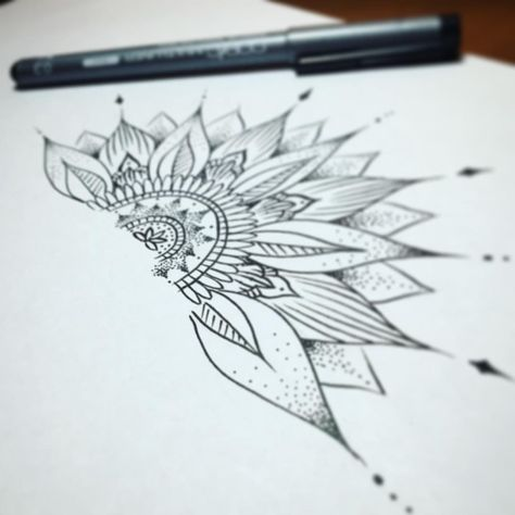 Creating half of a mandala, sunflower styleeeee 🌻 #draft #sketch #drawing #drawings #tattoo #tattoos #sgtattoo #sgtattoos #singaporetattoo #singaporetattoos #inked #design #create #art...