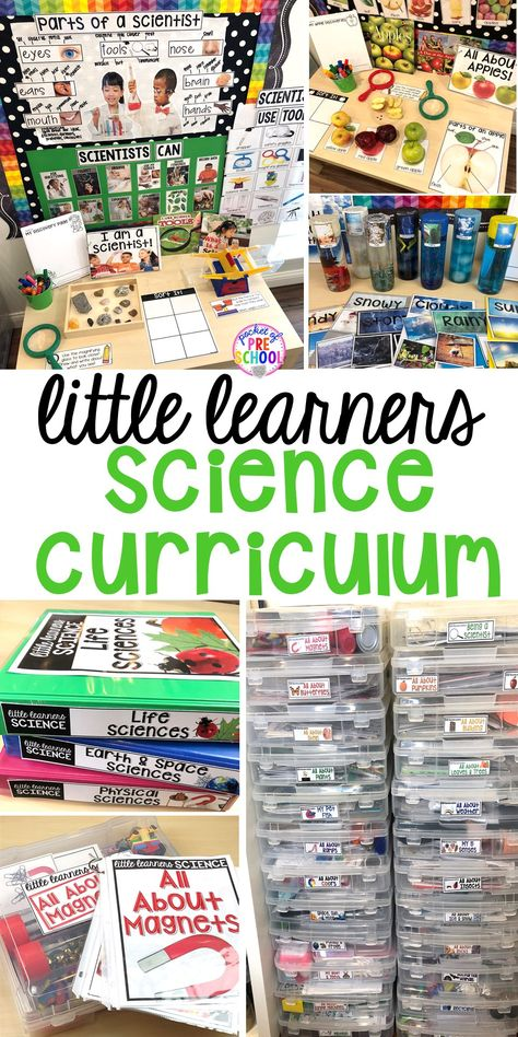 Science Curriculum for preschool, pre-k, and kindergarten. Plus tons of ideas for the science center and science table. #preschoolscience #sciencecenter #prekscience #kindergartenscience