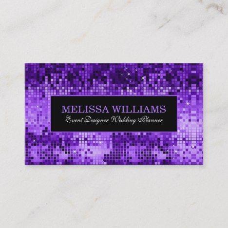 Elegant Purple Disco Glitter Texture Pattern Business Card Zazzle Com Business Card Pattern Retro Business Card Textures Patterns