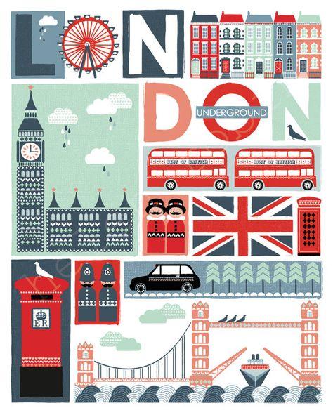 Londres excentrique Illustrative Estampe affiche de par helenrobin
