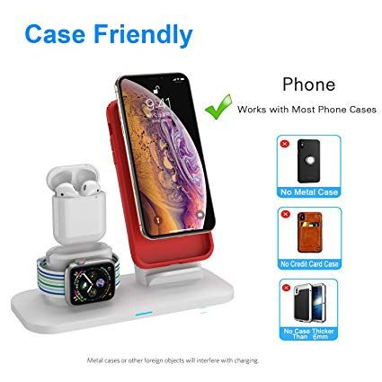 Simpfun Chargeur Sans Fil W01 Station De Charge Rapide Wireless Qi Pour Apple Watch 4 3 2 1 Airpods Iphone Xs Xr X 8 8 Mobile Phone Stands Phone Cases Phone