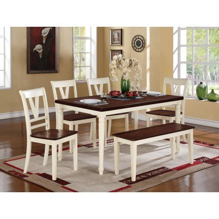 Modern Cottage Style 6pc Dining Set Cream Finish Cherry Wood Top Dining Table Chairs B Dining Table In Kitchen Farmhouse Kitchen Tables Solid Wood Dining Table