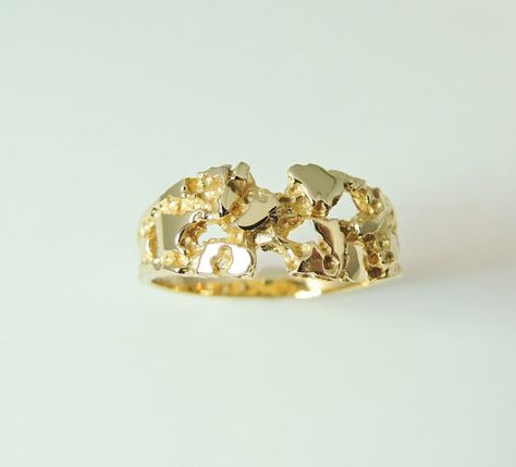 6cc8808c5 Men's GOLD Nugget Ring BOLD 10k Estate by PremierAntiquesNY ...